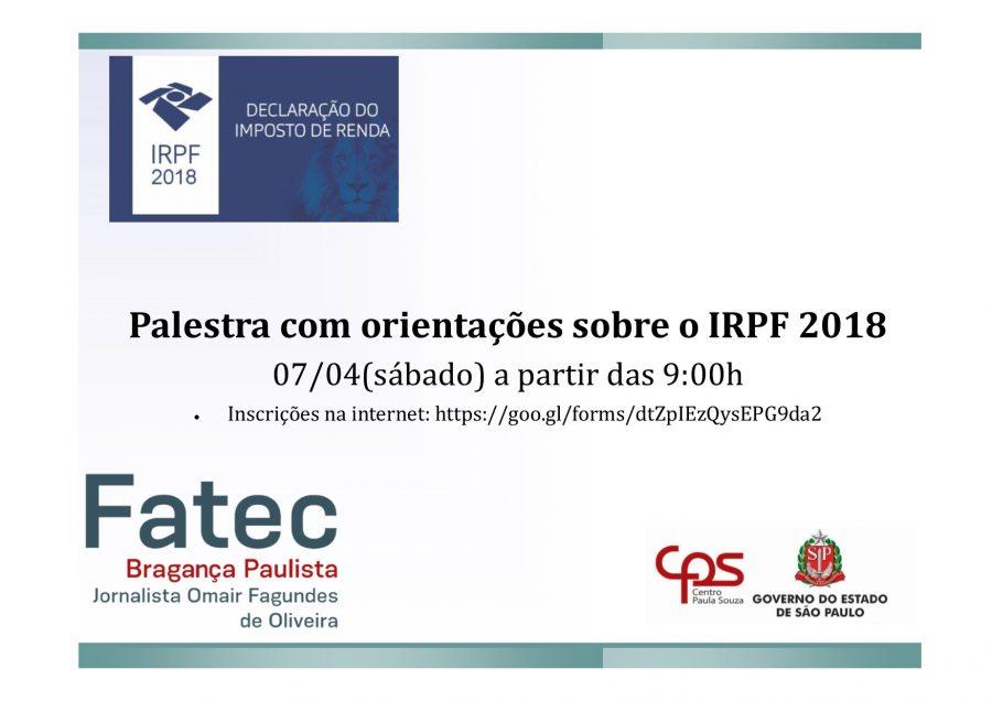 Palestra com orientações sobre o IRPF