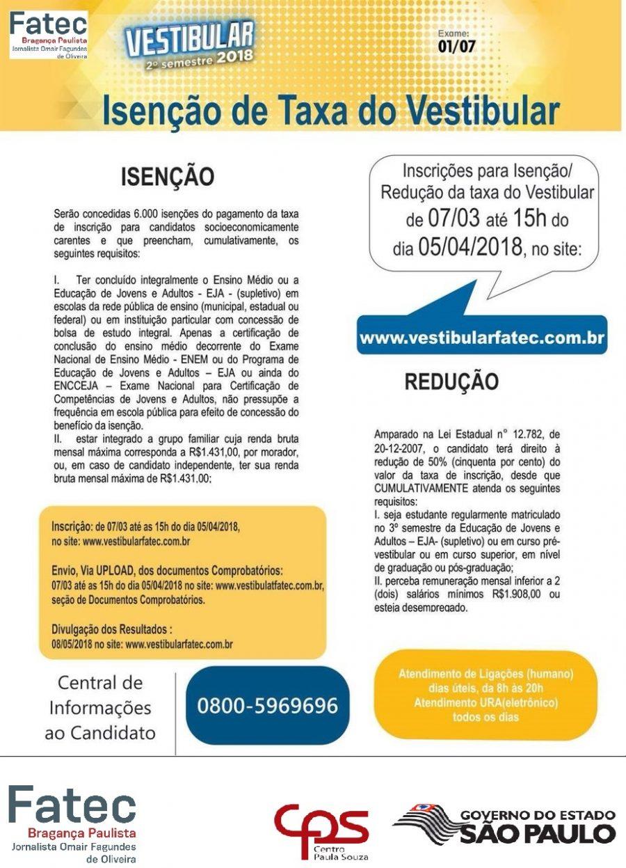Processo Seletivo Vestibular 2º SEM/18 – Inscrições para isenção/redução de taxa