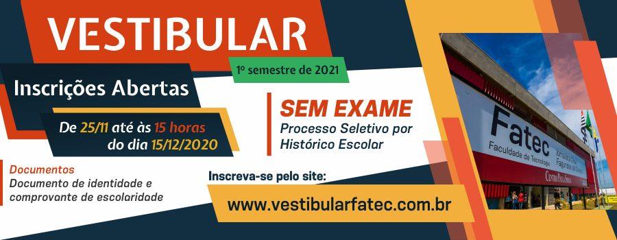 Inscrições para o Vestibular Fatec estão abertas até 15/12